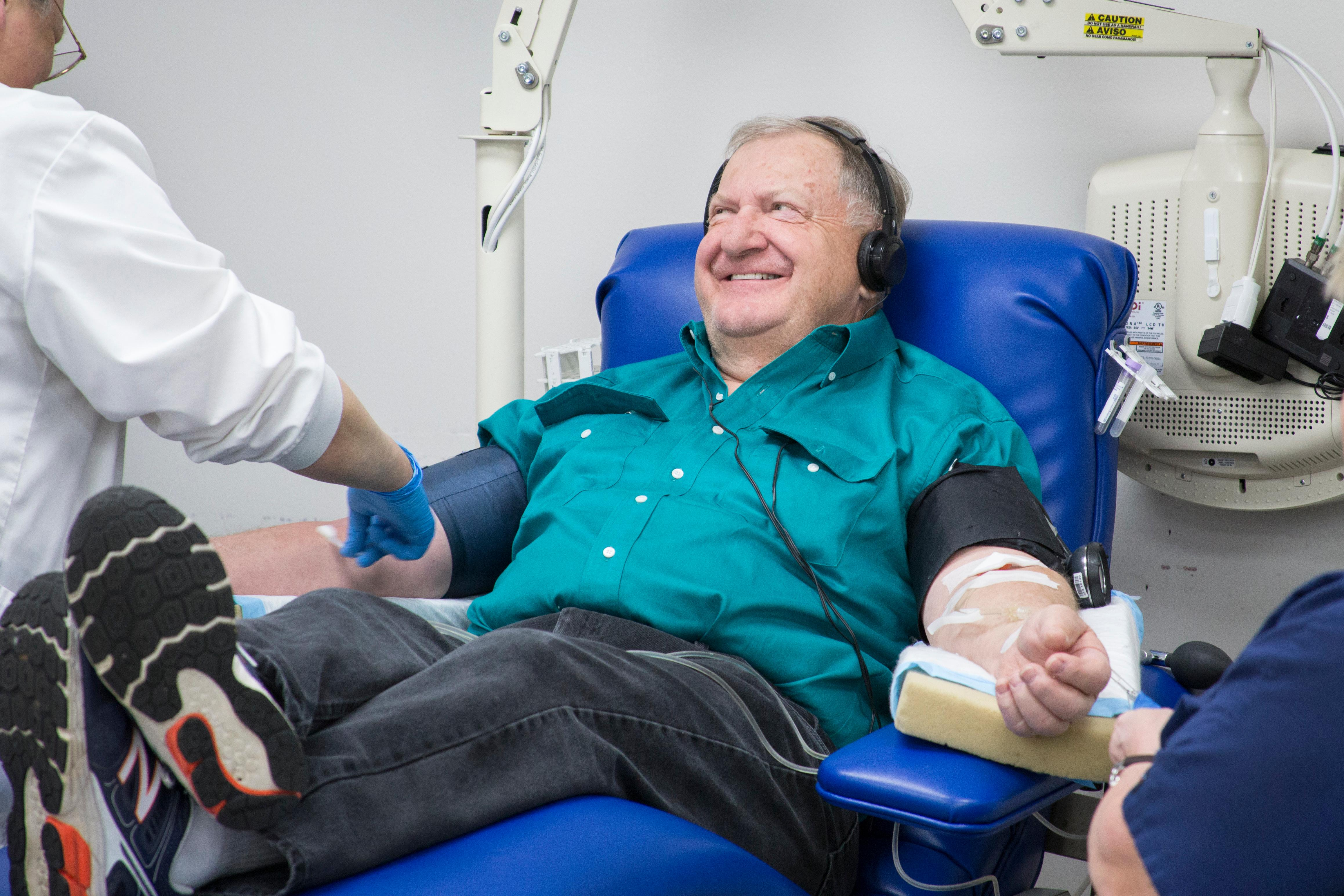 Dennis Clapper donates platelets via apheresis at the Charlotte, NC Donor Center. He started giving whole blood in the 1960s and switched to giving platelets in the late 1970s.