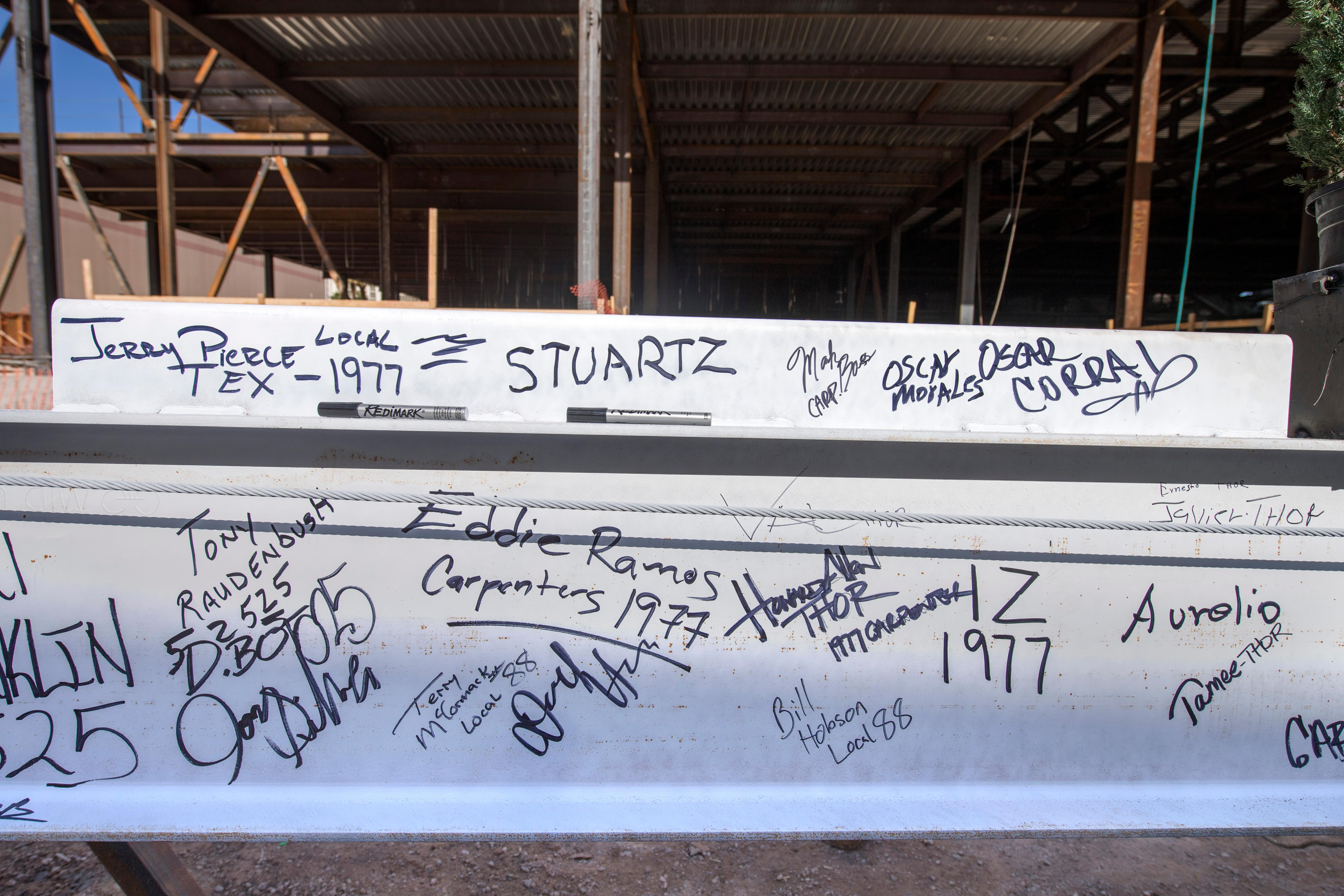 Signatures are seen on the final steel beam that will be installed during the topping off ceremony for MGM Grand's expanded conference center Tuesday, January 30, 2018. CREDIT: Sam Morris/Las Vegas News Bureau
