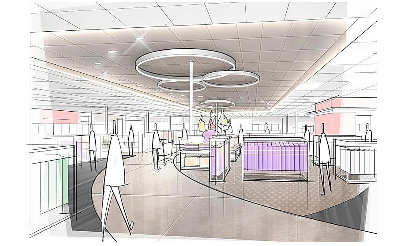 This image provided by Target Corp. shows a rendering of an area of a redesigned Target store featuring a curved center aisle, meant to inspire people to explore the merchandise. On Monday, March 20, 2017, Target announced an ambitious redesign of its stores, aimed at helping people who need to dash in for essentials to get out quickly while encouraging those who want to wander the aisles to linger. The new layout will feature a separate entrance for shoppers who can use 10-minute parking to pick up an online order or some essentials. It will also have curved, more circular center aisles, instead of squared-off lines, meant to inspire people to explore. (Target Corp. via AP)