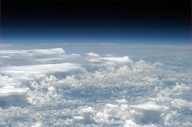 A long lens view of thunderstorms over the Amazon.  (Photo & Caption: Col. Chris Hadfield, NASA)