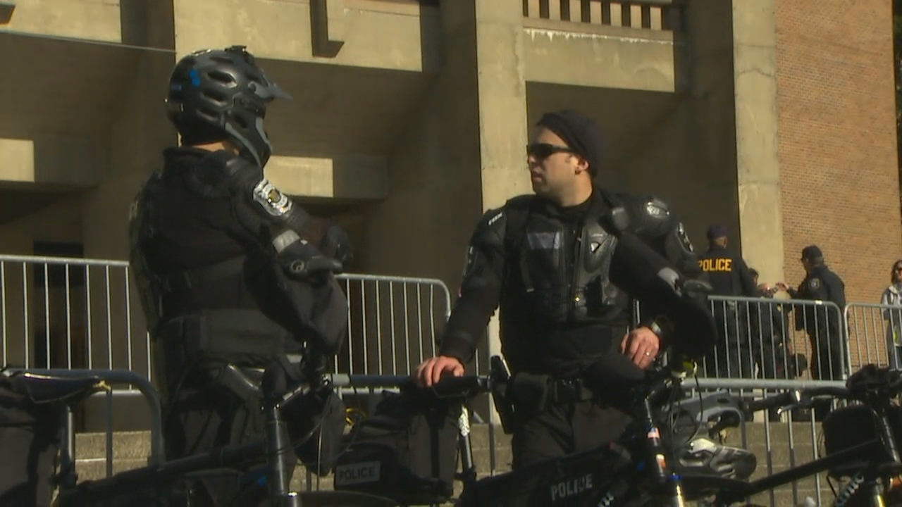 There was a heavy police presence. (Photo: KOMO News)<p></p>