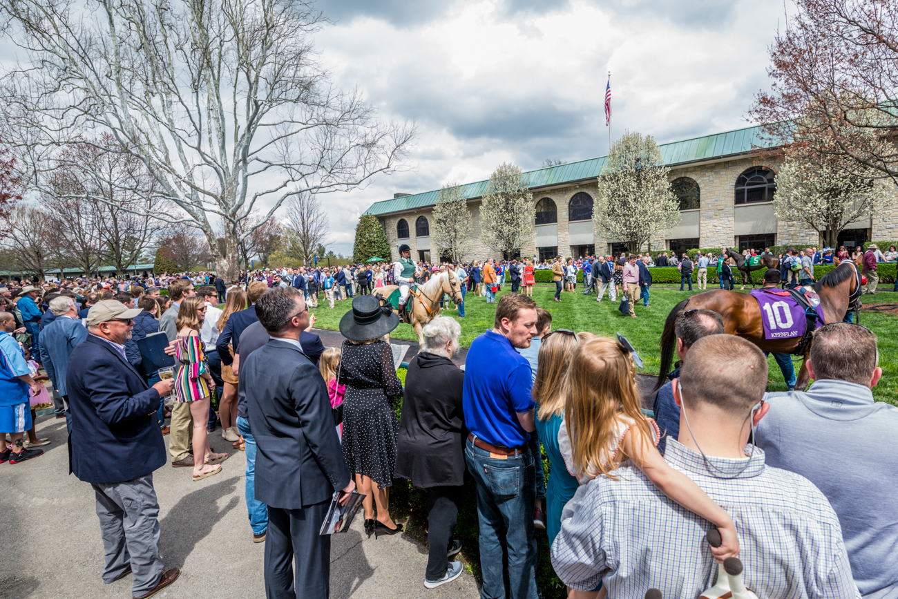 The crowd enjoys the paddock area at Keeneland. / Image courtesy of Catherine Viox // Published:{ }4.12.19