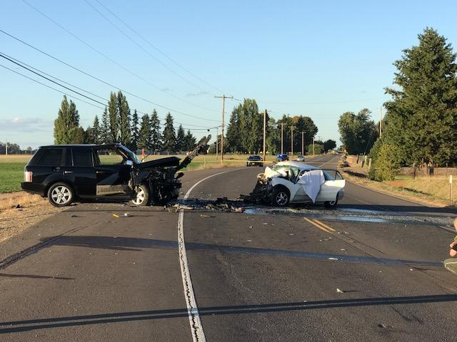 Head-on crash outside Salem - Photo courtesy Oregon State Police