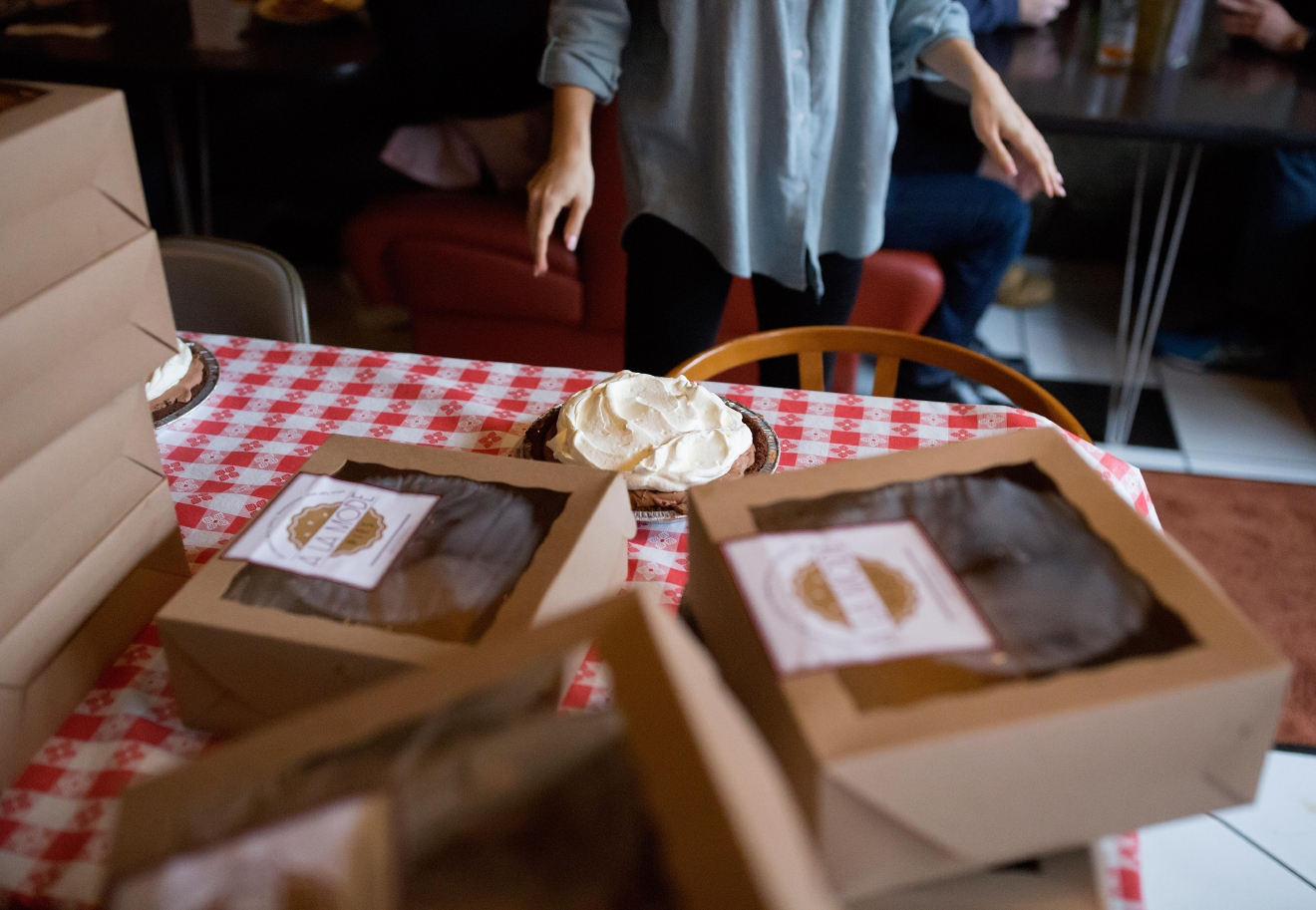 A chocolate pie from A la Mode Pies waits to be devoured before the second annual Pi Day Pie Eating Contest at Lost Lake Cafe. The winner of the competition chooses a charity of their choice to receive $500. (Sy Bean / Seattle Refined)