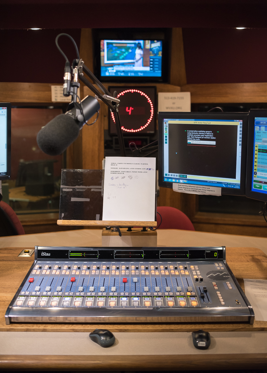 The view of the WVXU broadcaster. / Image: Phil Armstrong, Cincinnati Refined // Published: 12.12.17