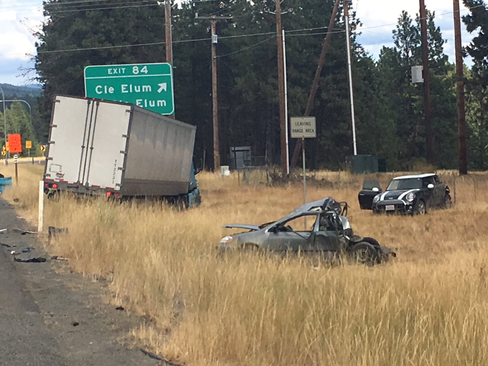 At least one person was killed in a multi-car crash involving a semi-truck on eastbound Interstate 90 near Cle Elum, according to the State Patrol. (Photo: WSP)