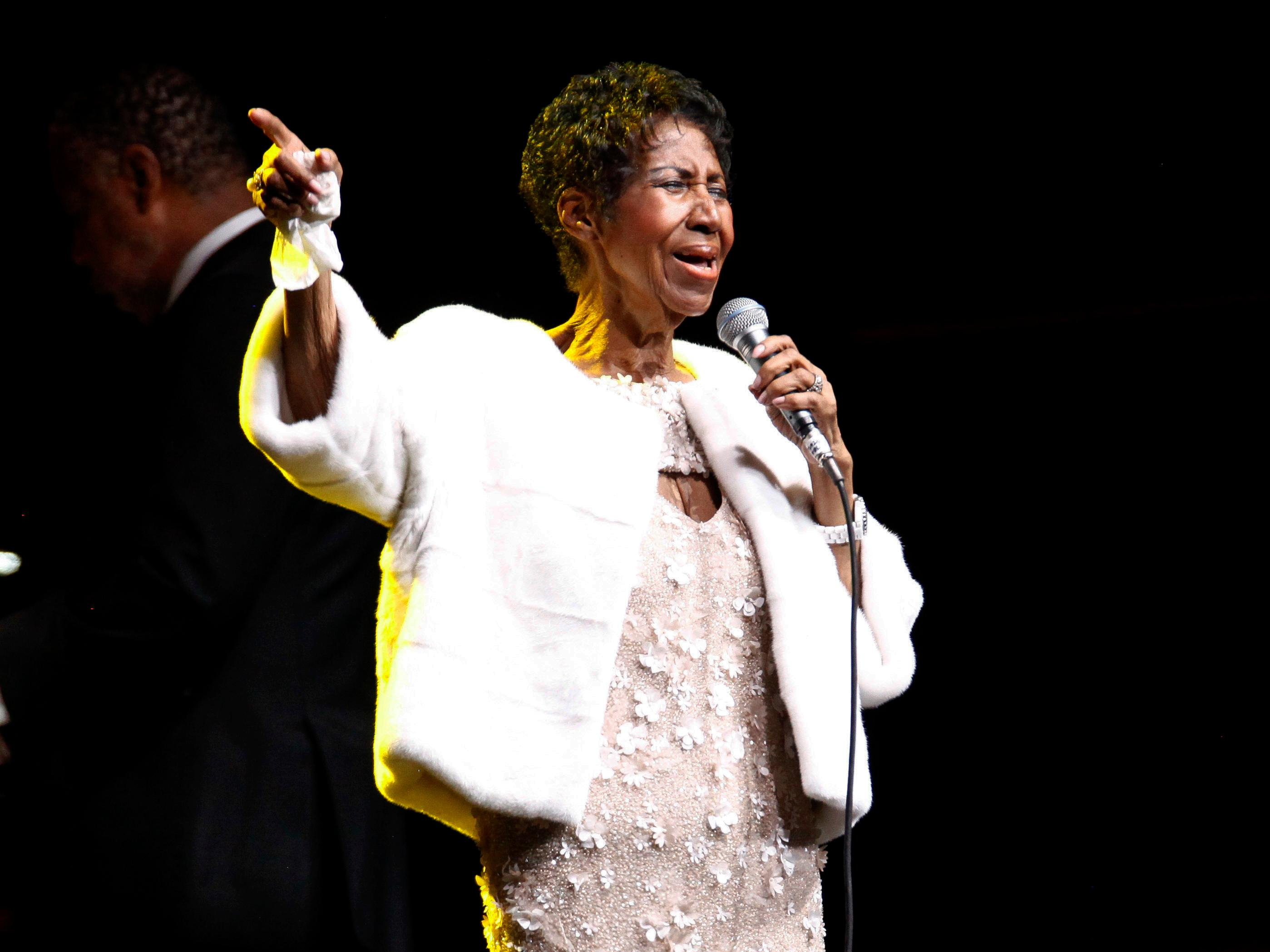 FILE - In this Nov. 7, 2017 file photo, Aretha Franklin attends the Elton John AIDS Foundation's 25th Anniversary Gala in New York.{ } (Photo by Andy Kropa/Invision/AP, File)