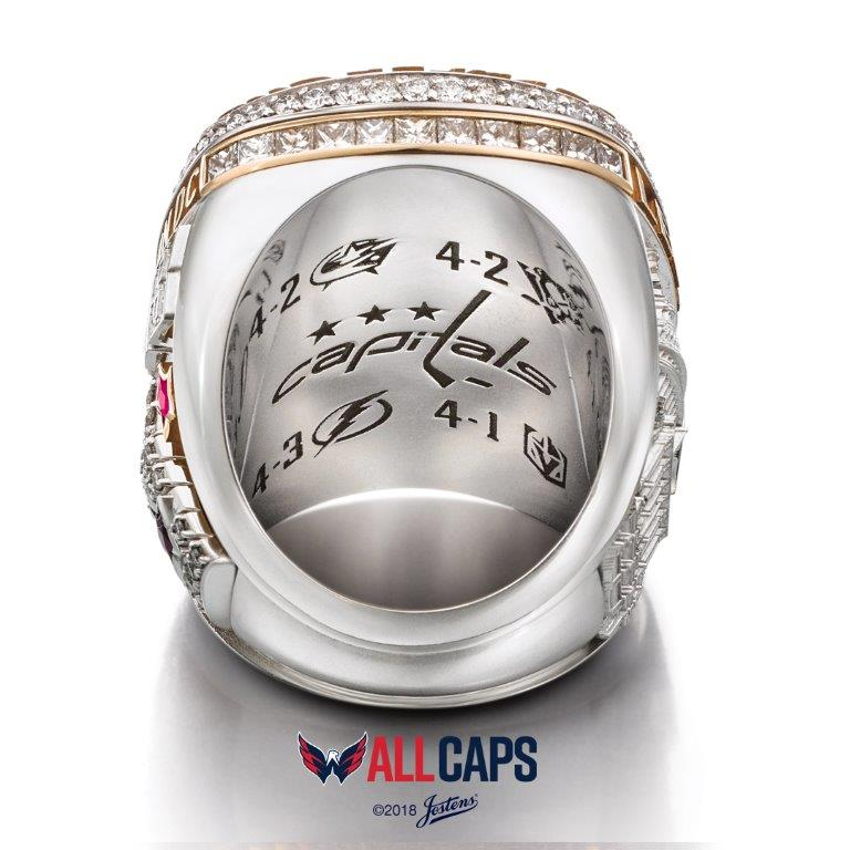 The 14-karat white and yellow gold rings – handcrafted by Jostens – feature 230 round diamonds, 22 princess cut diamonds, 28 taper-cut rubies, seven star-shaped rubies and a star-shaped sapphire. (Image: Courtesy Washington Capitals)