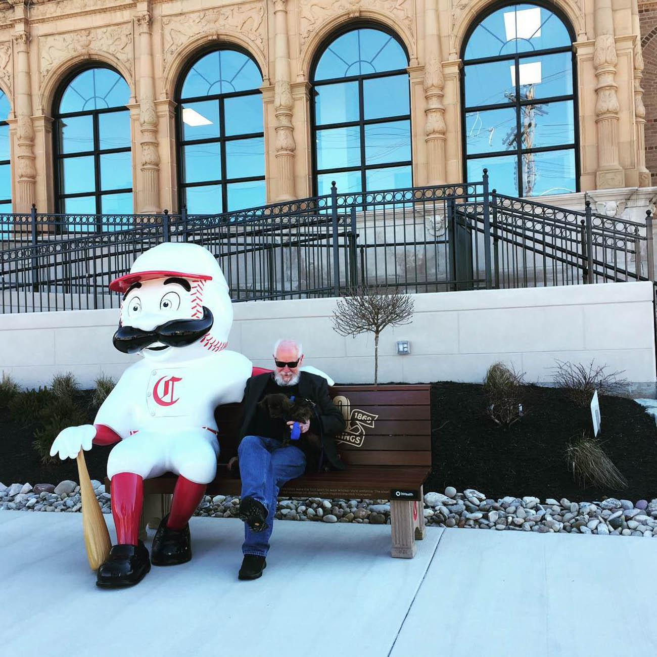 To celebrate the Reds' 150th Anniversary, 24 benches featuring Mr. Redlegs sculptures have been added to various spots around the area, as well as out of town locations including Dayton, Loveland, and Louisville, for the perfect Reds photo op. The mascot sports different uniforms from throughout the team's history at each of the benches. The Reds have been wearing these same throwback uniforms during their 2019 season. / Location: Madcap Education Center in Westwood / Uniform: 1869/ Image courtesy of Instagram user @madcapeducationcenter // Published: 5.14.19