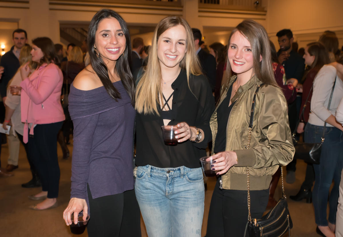 Pictured: Nicala Campolongo, Lauren Jensen, and Ariel Spiegel / Event: Bacchanalian Society Winter Gathering (Feb. 8) / Image: Sherry Lachelle Photography // Published: 3.3.18<p></p>