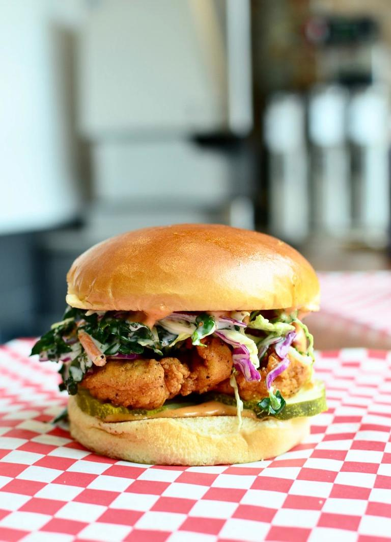 City Bird sandwich: tenders, city slaw, city sauce, pickles, toasted potato bun / Image: Leah Zipperstein, Cincinnati Refined // Published: 3.18.18