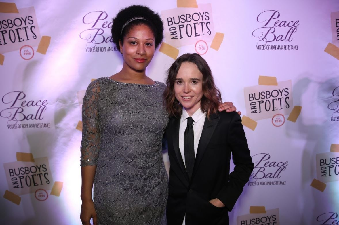 Ashley Love and Ellen Page were among the celebs who came out to support Andy Shallal's message of peace. (Amanda Andrade-Rhoades/ DC Refined)