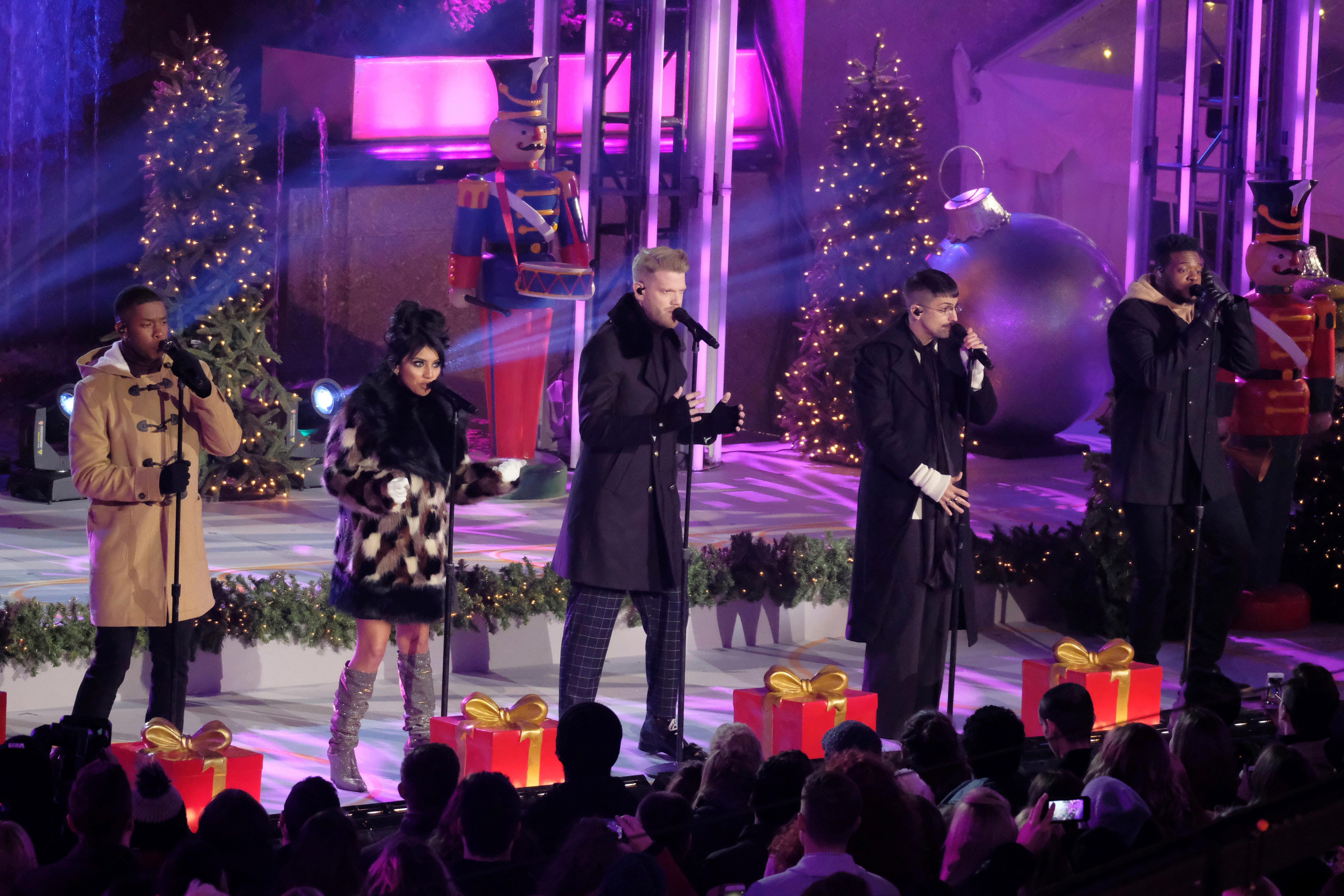 Christmas Tree Lighting Ceremony On Pentatonix Members, From Left, Matt