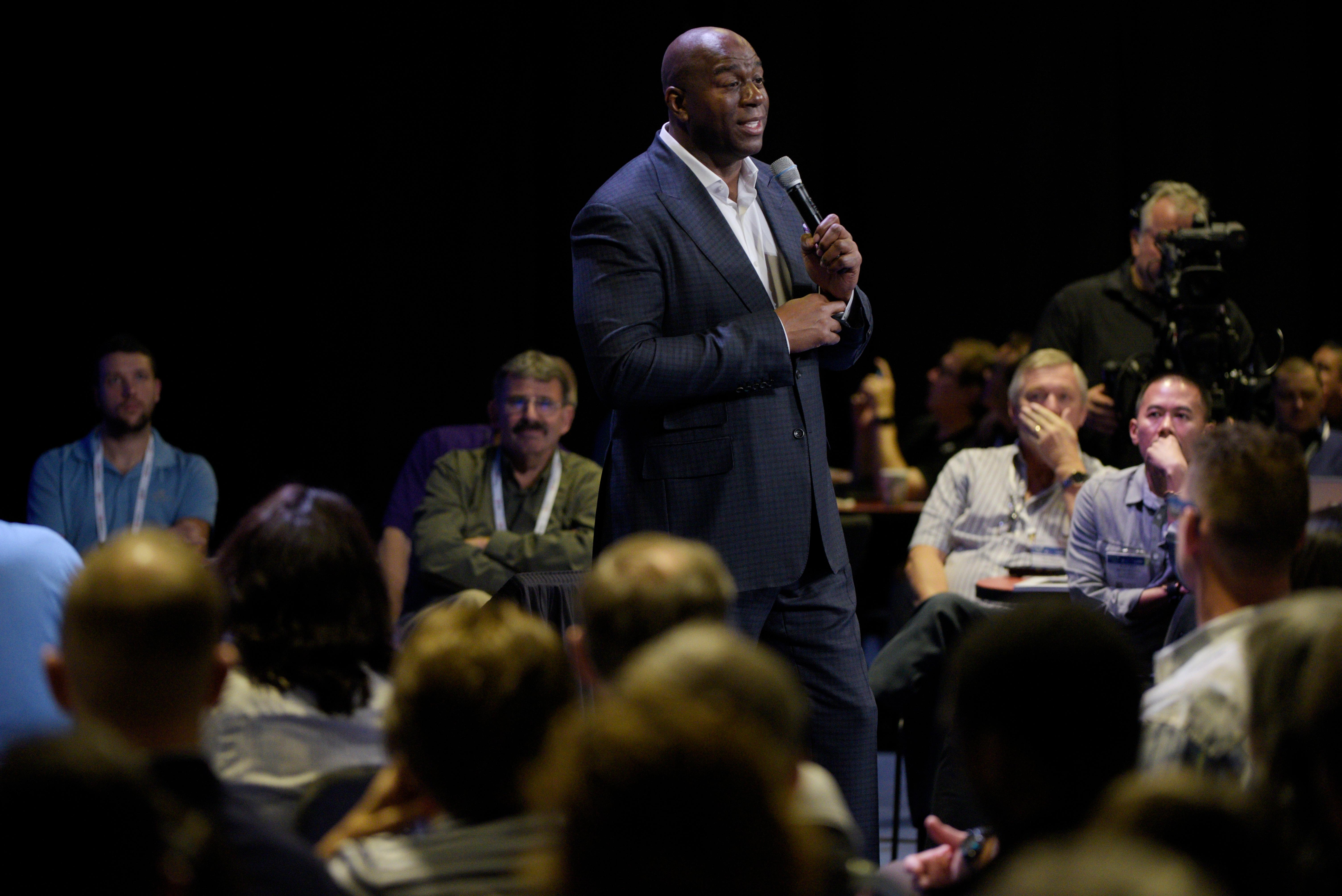 "NBA legend and two-time Hall of Famer Earvin ""Magic"" Johnson delivers a keynote address during the Global Gaming Expo Thursday, October 5, 2017, at the Sands Expo and Convention Center. CREDIT: Sam Morris/Las Vegas News Bureau"