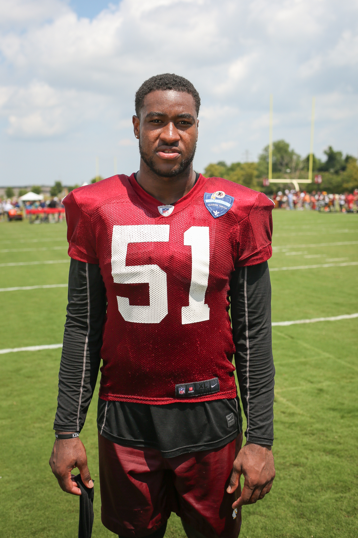 "Shaun Dion Hamilton (51) is a 22-year-old linebacker from Montgomery, Alabama who was drafted in the sixth round by the Redskins.{ } ""It was a relief,"" said Hamilton. ""I was very ecstatic since I had been working hard for it all year -- for 22 years really -- so I was excited. (Image: Amanda Andrade-Rhoades/ DC Refined)"