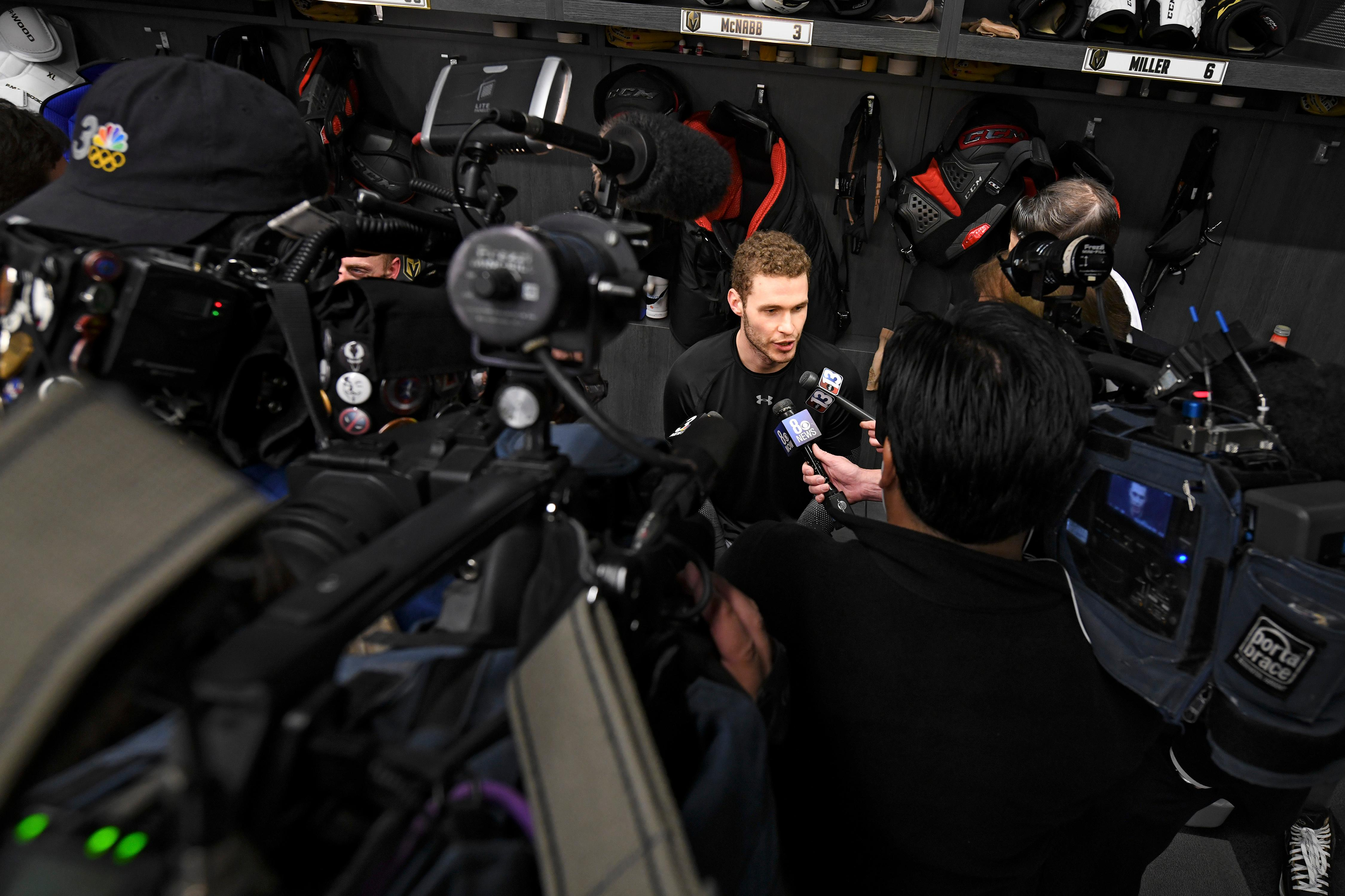 Media converge on Vegas Golden Knights defenseman Brayden McNabb (3) after the Vegas Golden Knights practice Friday, April 20, 2018, at City National Arena in Las Vegas. McNabb scored the winning goal against the Los Angeles Kings, his former team, to sweep the Kings in their first round playoff series. CREDIT: Sam Morris/Las Vegas News Bureau