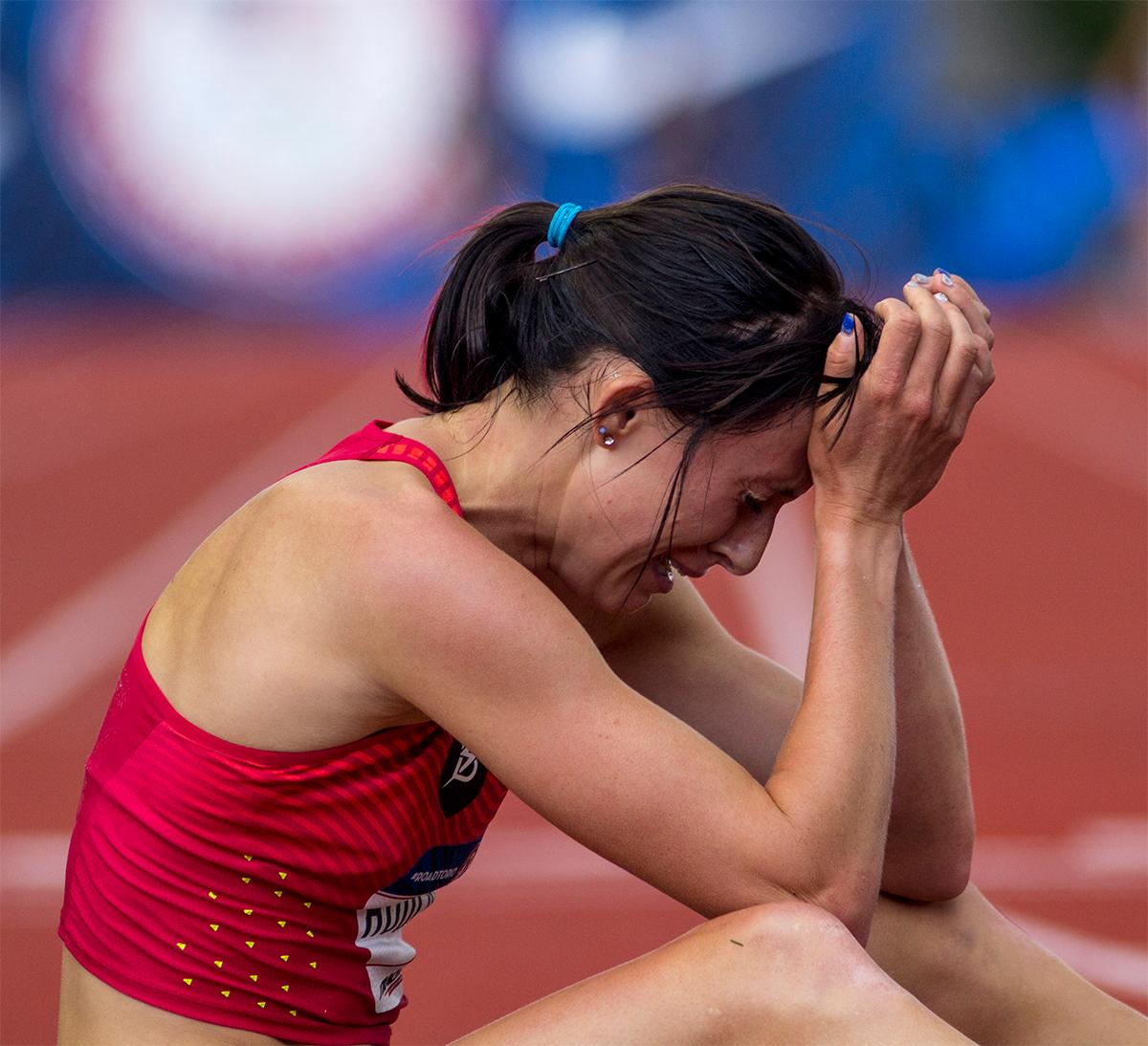 Nike Bowerman TC's Shelby Houlihan takes a moment to breath after finishing second in the 5,000 meter final with a time of 15:06.14 and qualifying for Rio. Photo by August Frank, Oregon News Lab