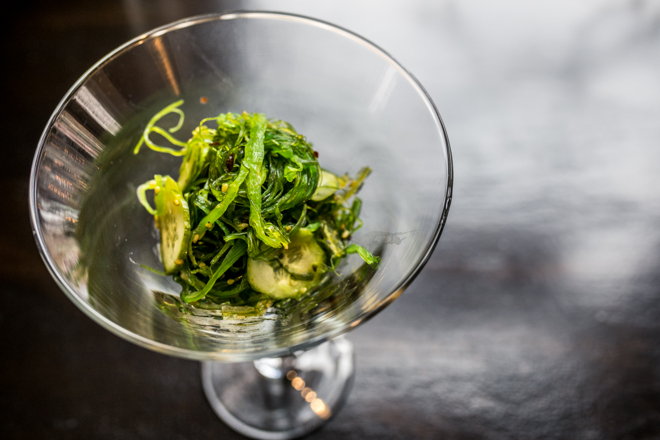 Seaweed Salad served with thinly sliced cucumbers / Image: Catherine Viox // Published: 1.3.21