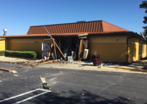 Officials: Huge hole blown through rear of Md. Olive Garden after 'some type of explosion.' (Audrey Barnes/Laurel PIO)<p></p>