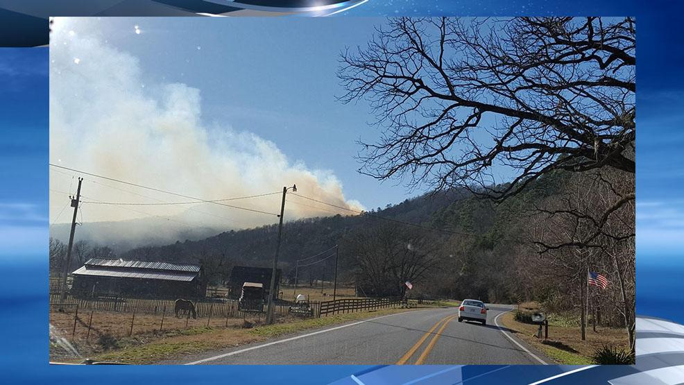The Buffalo National River says the Whitley and Edgeman fires were reported along Arkansas Highway 21 midday Sunday. (Photo courtesy: Ponca VFD)<p></p>