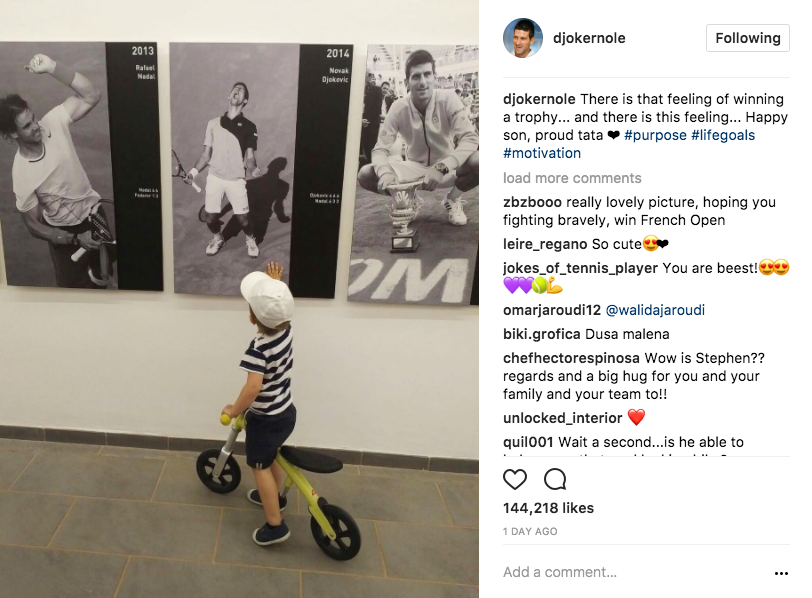 "Novak Djokovic shared a sentimental moment on Instagram this week captioning ""There is that feeling of winning a trophy... and there is this feeling... Happy son, proud tata ? #purpose #lifegoals #motivation"""