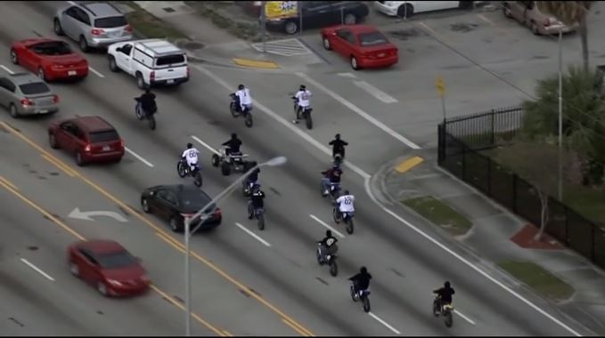People on ATVs, dirt bikes and motorcycles are taking part in the Wheels up, guns down event in south Florida. (CNN Newsource)