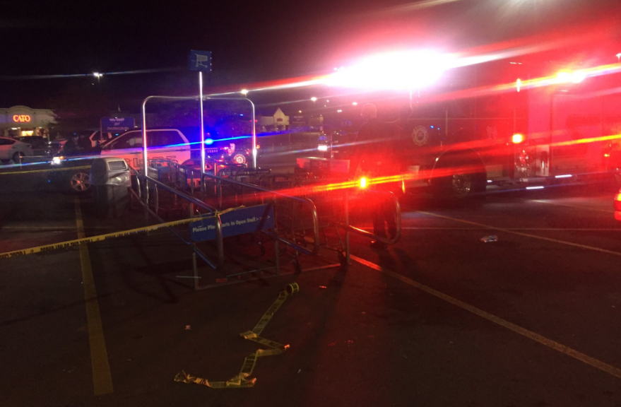 Police responded to a report of a shooting shortly before 11 p.m. Thursday at Walmart Supercenter, 250 Highland Square Drive in Hendersonville. (Photo credit: WLOS staff)