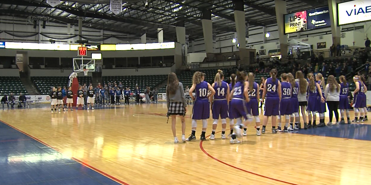 The girls from Axtell are introduced before their semifinal in the FKC tournament against Overton, Feb. 2, 2017 (NTV News)