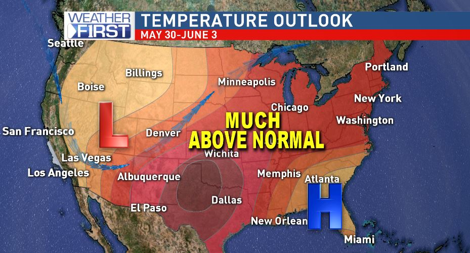 The temperature outlook into June looks to remain well above normal.{ }