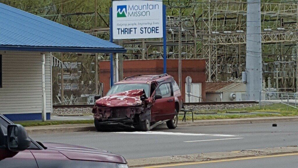 Photo shows one of the two vehicles damaged in a crash in North Charleston. (WCHS/WVAH){ }