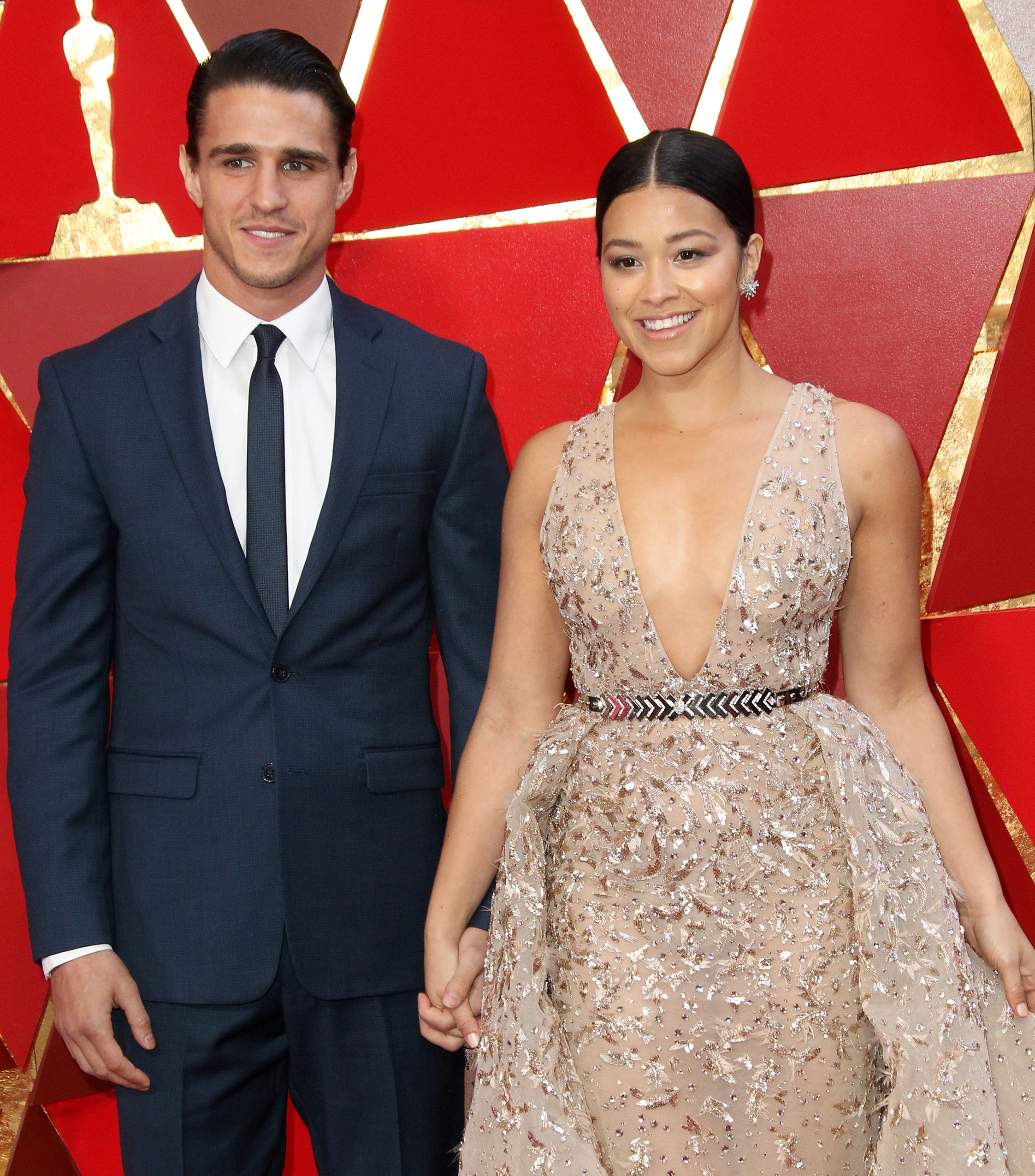 Gina Rodriguez and Joe LoCicero{&amp;nbsp;}arrive at the 90th Annual Academy Awards (Oscars) held at the Dolby Theater in Hollywood, California. (Image: Adriana M. Barraza/WENN.com) <p></p>