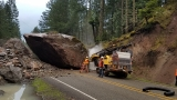 200-ton boulder blocks Hwy 138 east of Glide