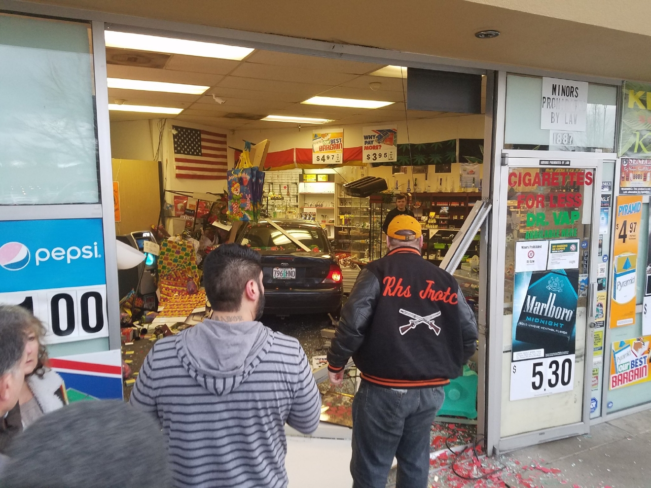 A car drove into Cigarettes for Less in Springfield Saturday night. (SBG photo)