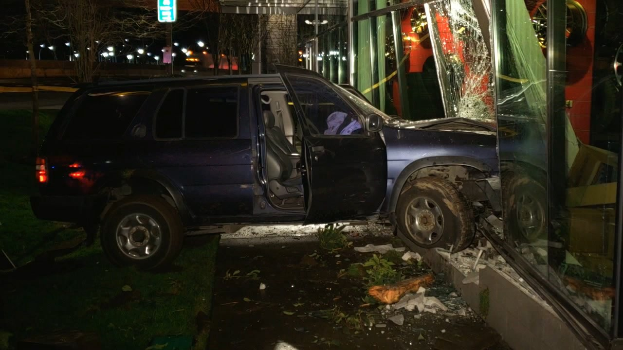 A driver in an SUV crashed into the front of a Les Schwab Tire Center in Sellwood on Jan. 16, 2019. KATU photo{ }