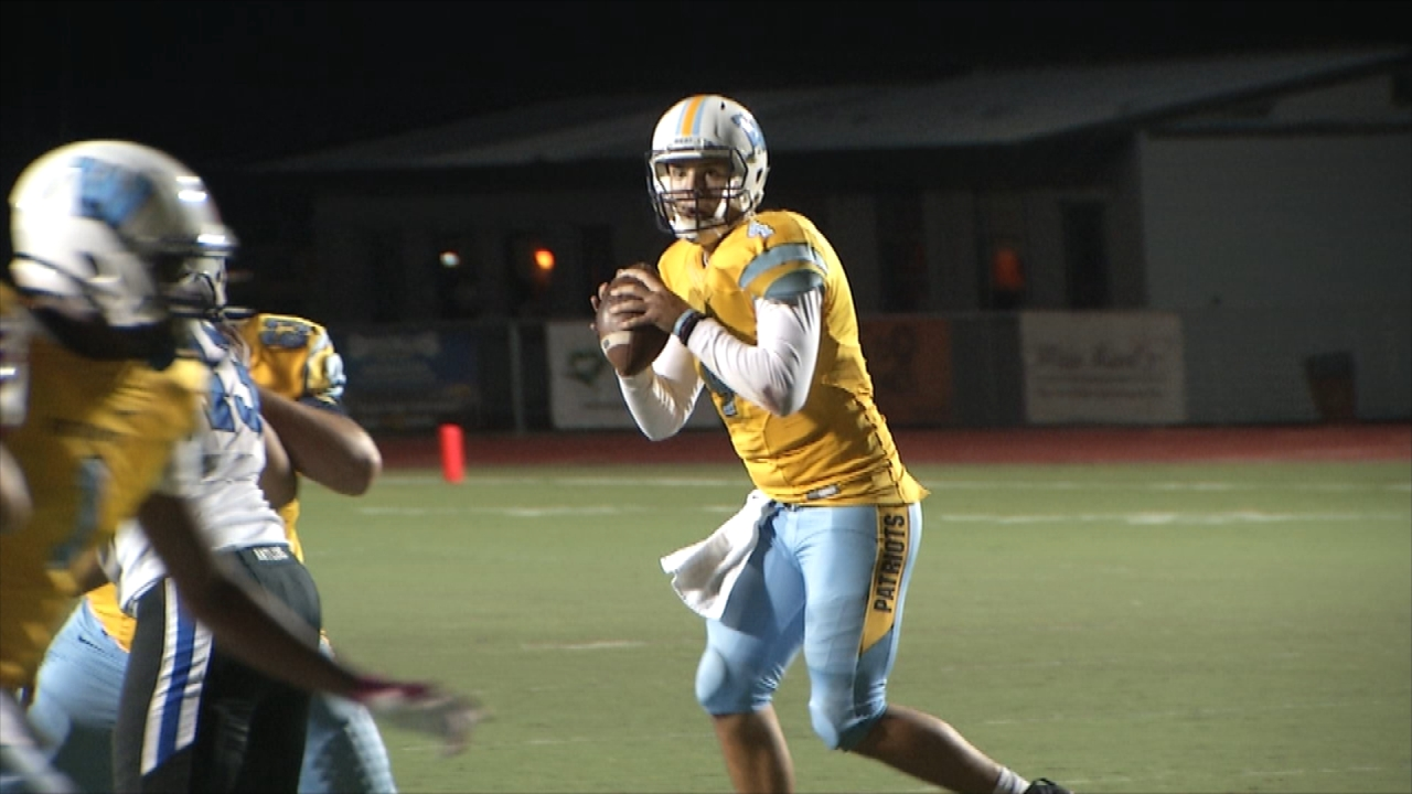 Quarterback Trey Gooch of Putnam City West is preparing to pass for touchdown against Deer Creek on Thursday, Oct. 20, 2016 (Ivan Gibson KOKH)