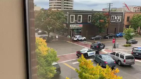 Video courtesy of Jim Titus shows Vancouver law enforcement on scene of a reported shooting at a downtown apartment complex.Thumbnail