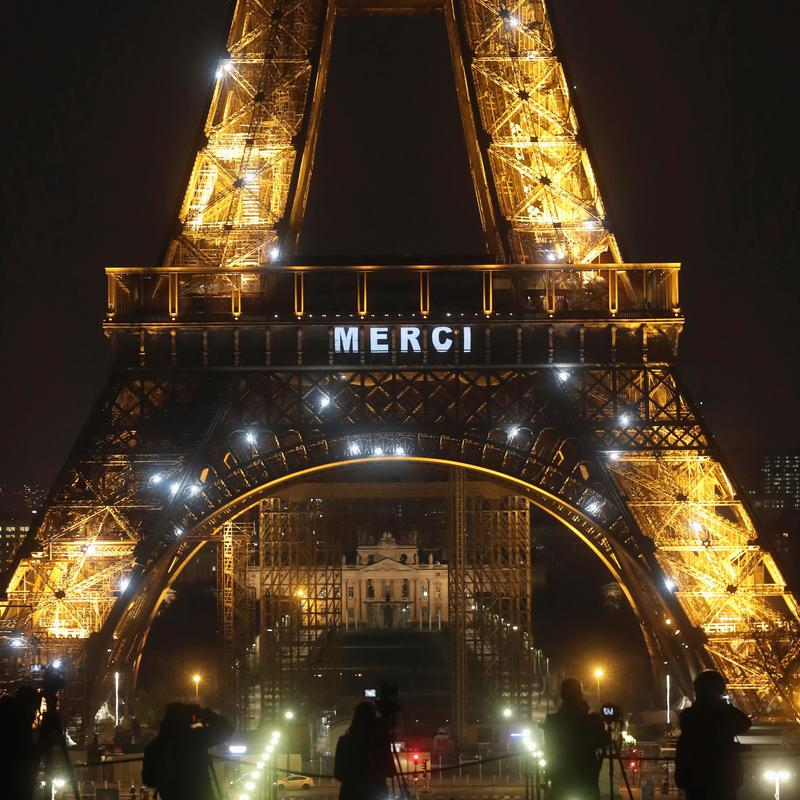 Light Up The Night Eiffel Tower Says Merci To Health Workers Wbma