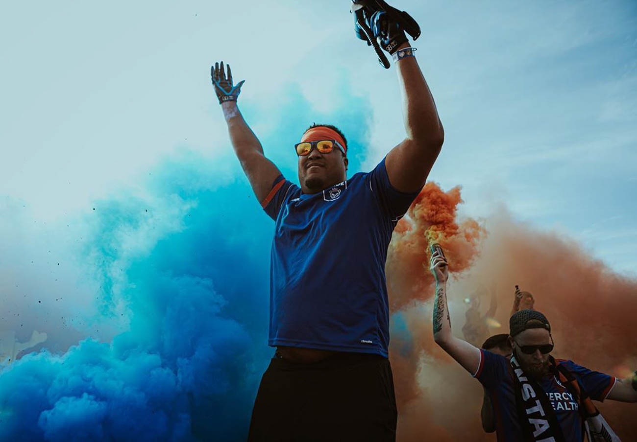 Hyping up the crowd for FC Cincinnati... / Image courtesy of Instagram user @chrisgoody23 // Published: 9.23.19
