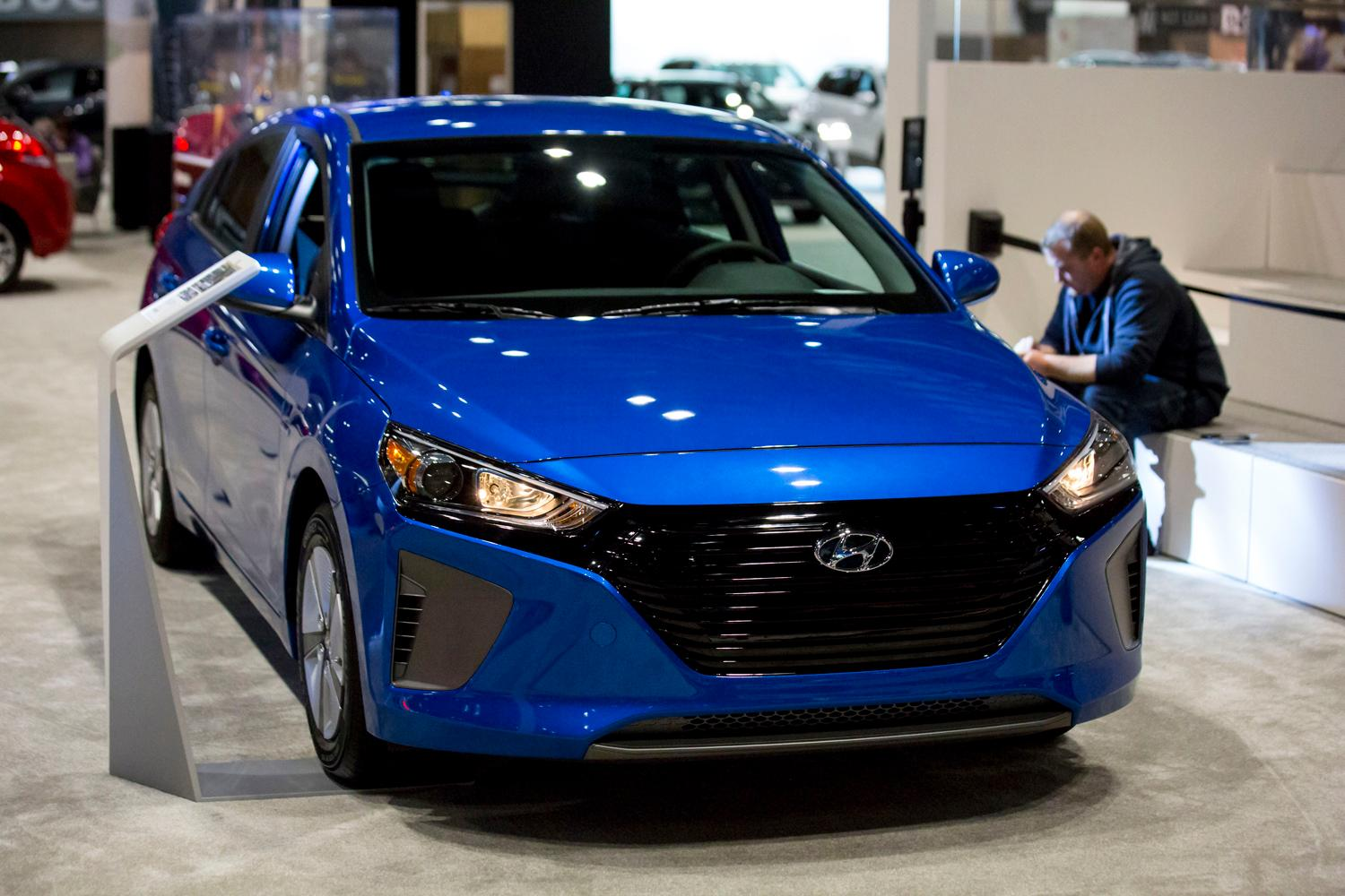 The 2018 Hyundai Ioniq Hybrid at the Seattle International Auto Show at the CenturyLink Event Center. (Sy Bean / Seattle Refined)