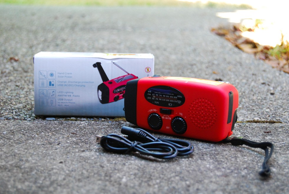 A hand-crank radio that triples as a radio and cell phone charger are a great addition to your emergency preparedness kit. (Image: Rebecca Mongrain/Seattle Refined)