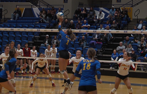 UNK setter Lindsey Smith (1) attacks a pass for a kill versus Pittsburg State, Nov. 3, 2017 (KHGI)<p></p>