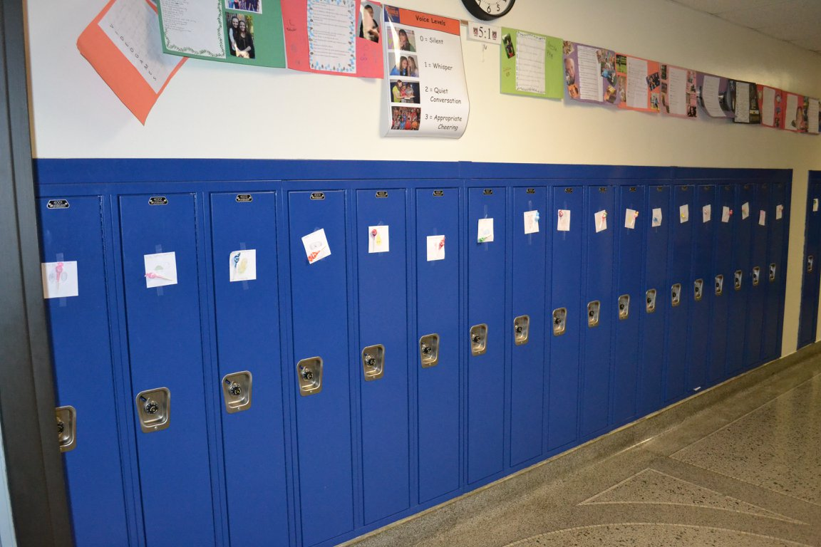Valentines put on lockers in Franklin Middle School. (photo courtesy Franklin Middle School)