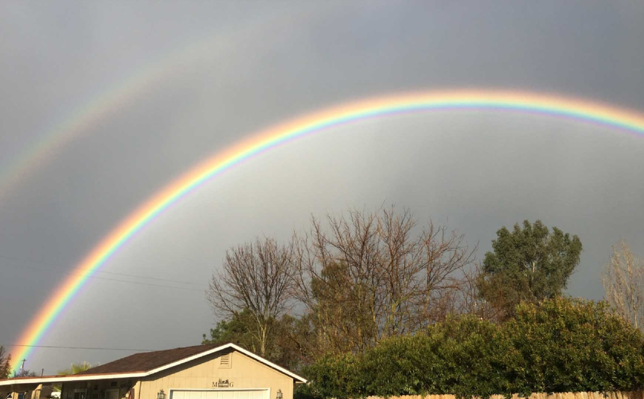 Double rainbow in Madera County by Andora Garcia 1-19-17