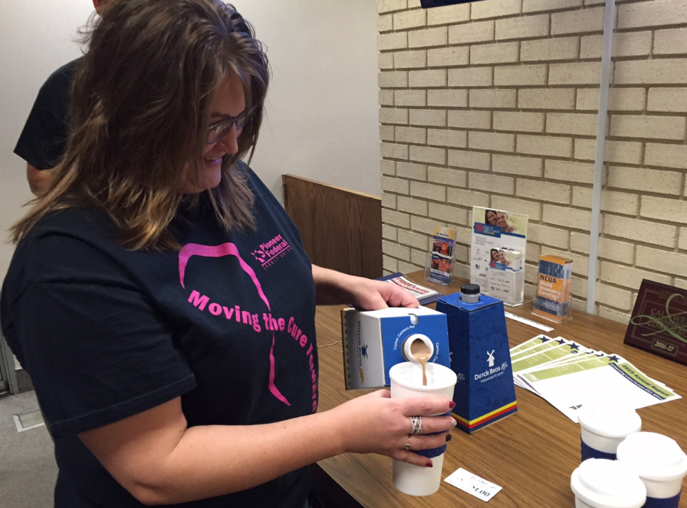 Mugshot Mondays: This week's winner is Pioneer Federal Credit Union in Caldwell! Kelsey Anderson  helped deliver free Dutch Bros. Coffee and KBOI mugs! Want your business to be next? Enter HERE: http://bit.ly/1UoKo3X