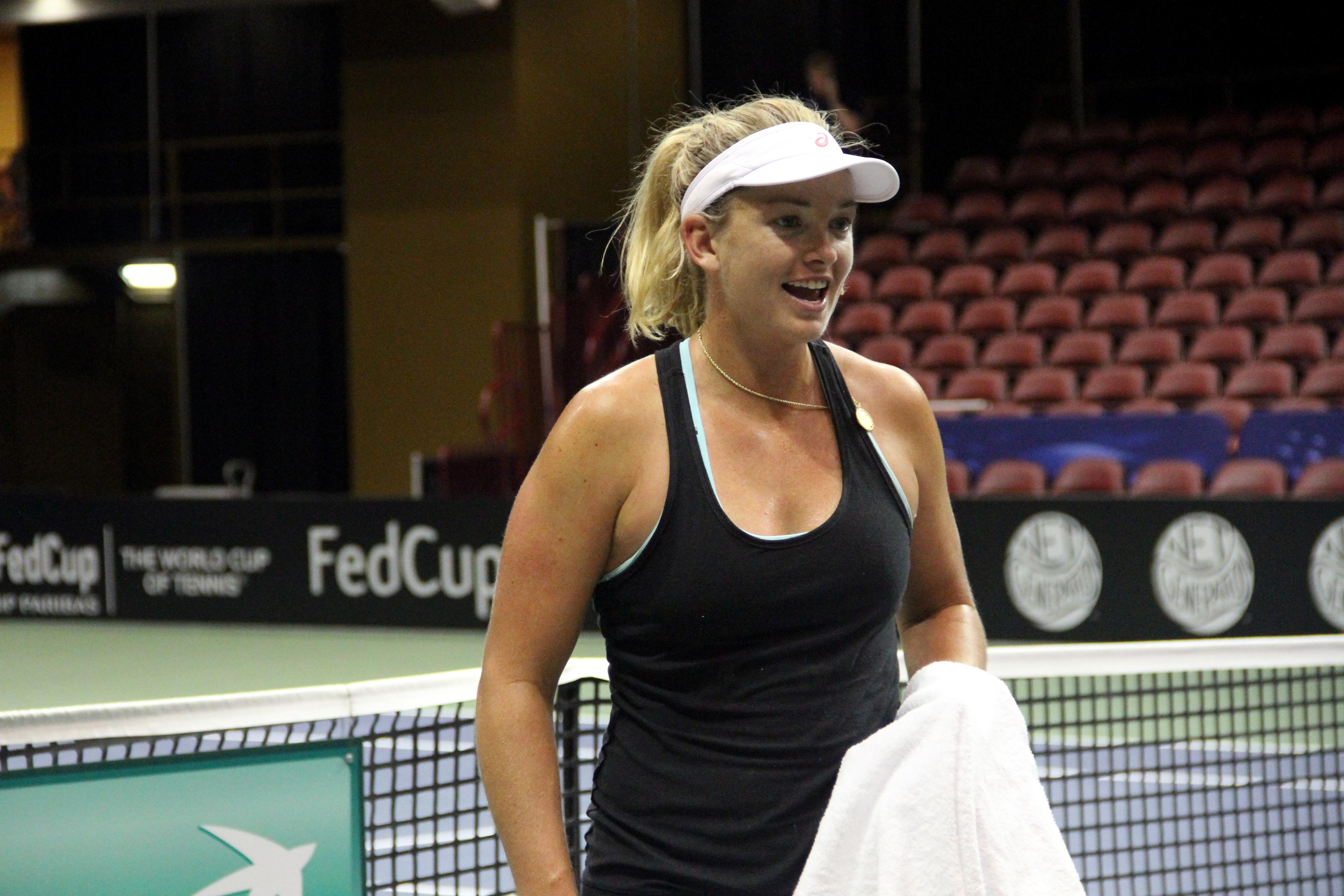 CoCo Vandeweghe practices at the US Cellular Center on Feb. 7, 2018, ahead of the Fed Cup. (Photo credit: WLOS Staff)