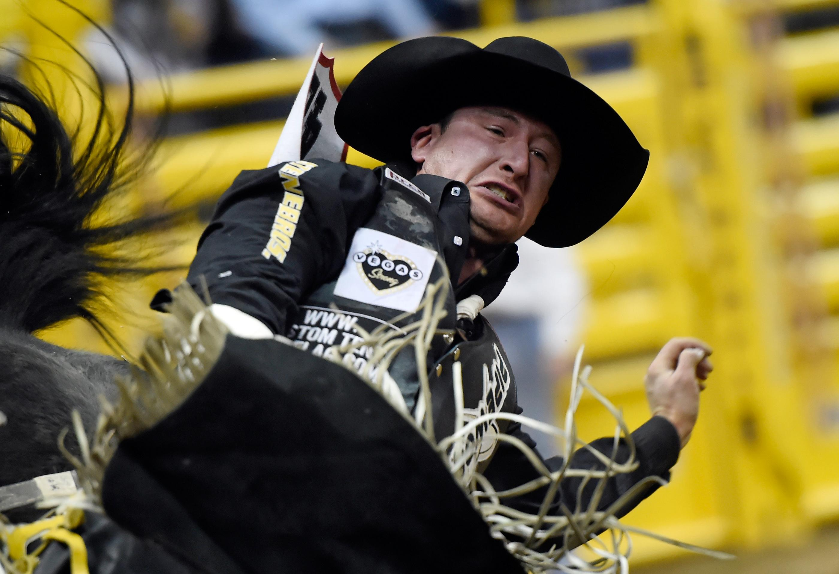 Jake Vold from Ponoka, Alberta, Canada, competes in bareback riding during the seventh go-round of the National Finals Rodeo Wednesday, Dec. 13, 2017, in Las Vegas. CREDIT: David Becker/Las Vegas News Bureau