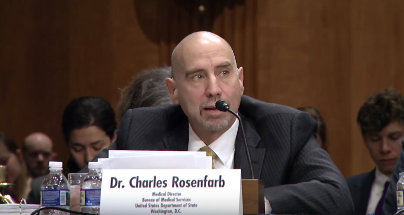 Witness and Medical Director of the Bureau of Medical Services at the State Department Charles Rosenfarb / Photo: State Department YouTube<p></p>