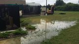 Water main break outside dispatch center in Mishawaka