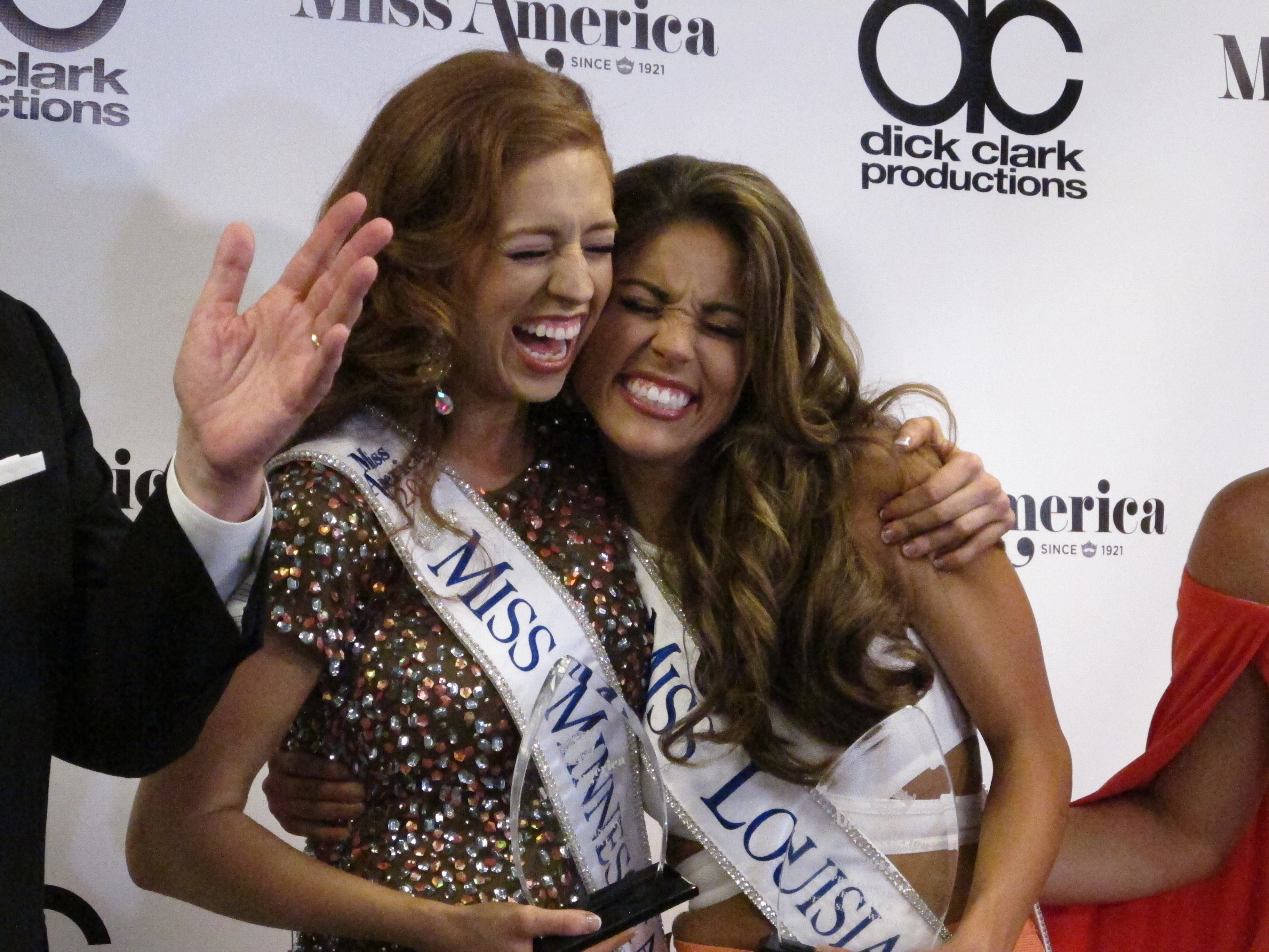 "Miss Minnesota Brianna Drevlow, left, and Miss Louisiana Laryssa Bonacquisti, right, meet reporters after winning preliminary competitions Thursday night Sept. 7, 2017 in the Miss America competition in Atlantic City, N.J. Drevlow won for playing a rendition of ""Rhapsody In Blue"" on the piano, and Bonacquisti won the swimsuit competition. (AP Photo/Wayne Parry)"