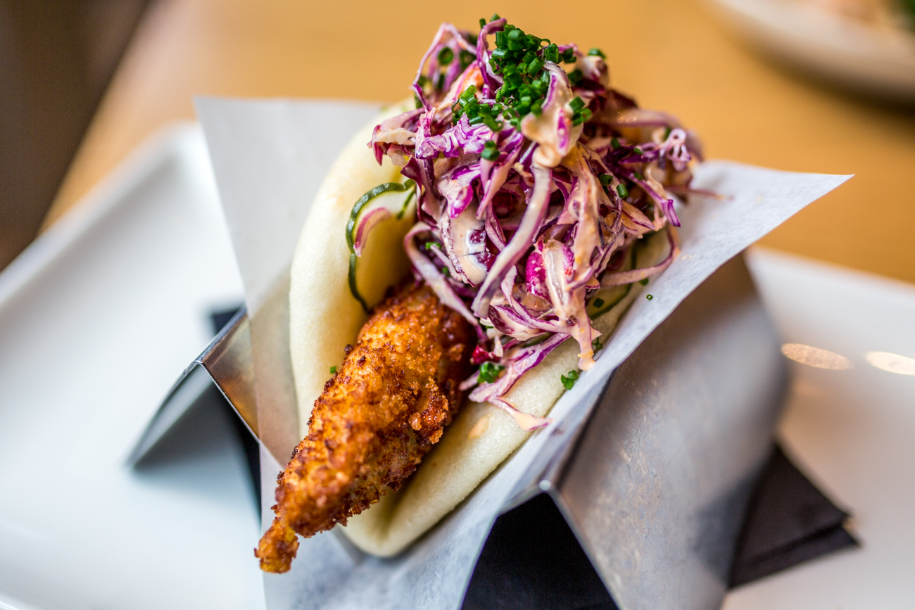 Spicy Katsu Bun: Panko-breaded chicken, house pickles, spicy scallion slaw, and chives / Image: Catherine Viox{ }// Published: 9.9.19